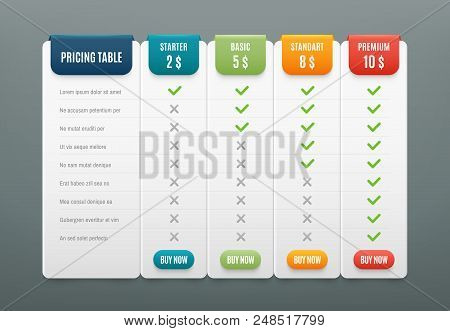 Comparison Pricing List. Comparing Price Or Product Plan Chart Compare Products Business Purchase Di