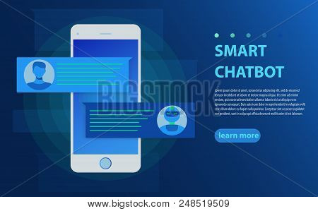 Chatbot And Future Marketing Concept. Person Chatting With Chat Bot In Mobile Phone Vector Illustrat