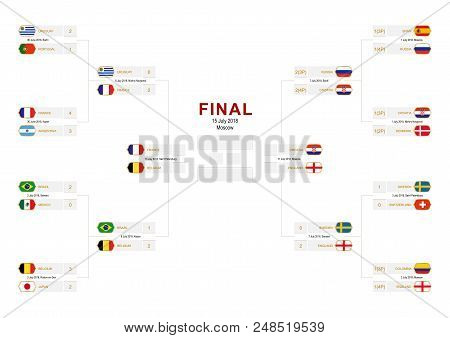 Championship Bracket With Flag Participants Of Round Of 16, Quarter-finals And Semi-finals On White