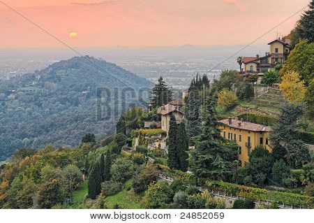 Sun Setting Over The Countryside Outside Bergamo, Lombardy, Italy, Europe