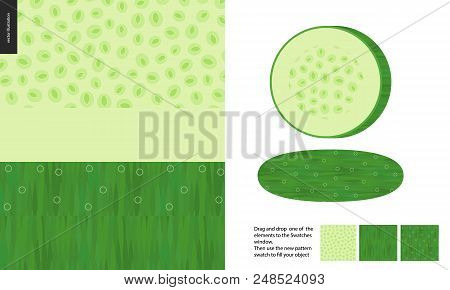 Food Patterns, Vegetable, Flat Vector Illustration -cucumber Texture, Half Of Cucumber Image And Two