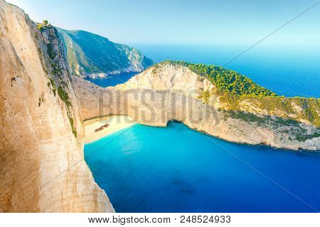 Shipwreck Beach. Navagio Beach At Sunset On Zakynthos Island, Greece.
