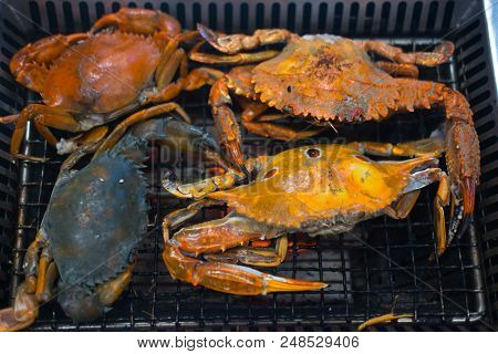 Many Grilled Crabs On Grill. Grill Buffet Restaurant