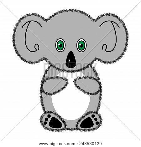 Koala Bear. Cute Cartoon Bear Character. Gray Silhouette. White Background. Vector