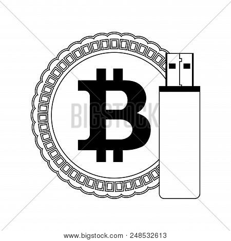 Storage Bitcoin Line Style. Bit Coin And Usb Flash Drive Memory. Vector Illustration