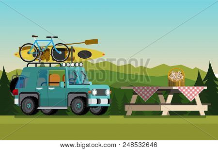 Recreation In Nature. Car With Boat And Bike In The Nature. The Concept Of Camping And Outdoor Recre
