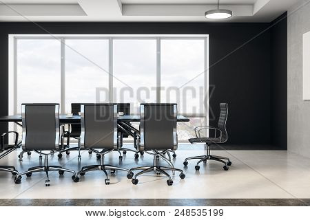 Modern Boardroom With Grey Chairs, Black Table, Concrete Floor And Windows Floor-to-ceiling. 3d Rend