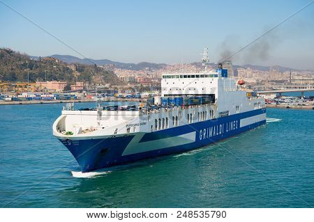 Barcelona, Spain - March 30, 2016: Ferry Ship Grimaldi Lines In Sea. Ferry Trip. Travelling By Sea O