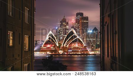 Bright Illumination Of Modern Architectural Landmark The Opera House At Night In A Buildings And Fen