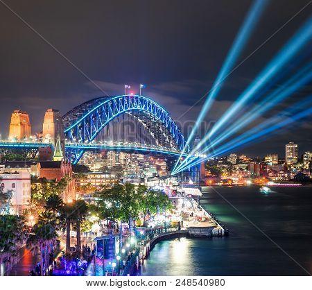 Australia - Sydney: June 07, 2017. Sydney Harbour Bridge View From Circular Quay Brightly Illuminate