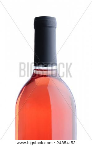 Closeup of a Blush Wine Bottle without label over a white background