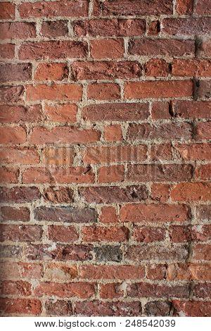 Grunge Dark Red Brick Wall Old Vintage Styler Stone Texture Background. Abstract Brick Stone Pattern
