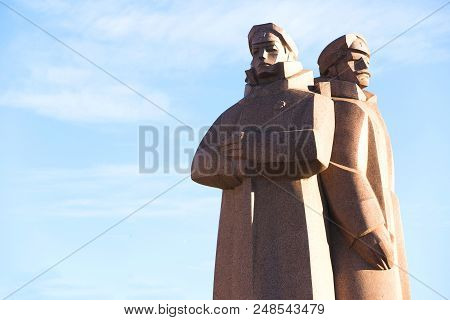 Riga, Latvia - September 22, 2015: Soviet Era Monument For The Latvian Riflemen. It Was A  Formation