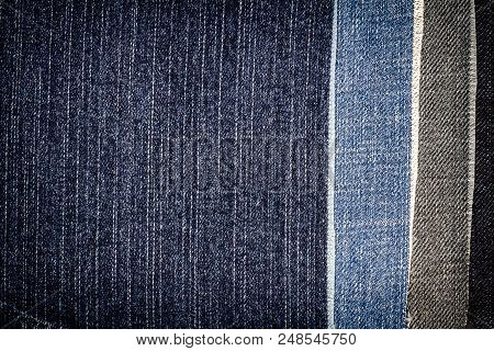 Abstract Different Torn Jeans Stripes Texture Background. Jeans Texture. Striped Jeans Background. D