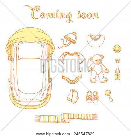Illustration Of Baby Items With Text Coming Soon. Baby Items For Logo: Stroller, Babygro, Baby-bib,