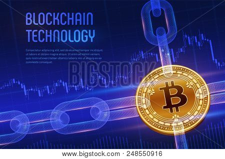 Crypto Currency. Block Chain. Bitcoin Cash. 3d Isometric Physical Golden Bitcoin Cash With Wireframe
