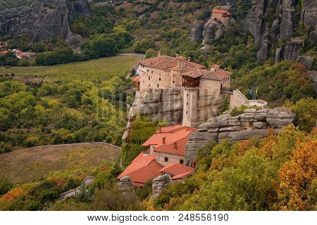 Magnificent Autumn Landscape.the Monastery Of Rousanou Or St. Barbara Monastery And The Monastery Of