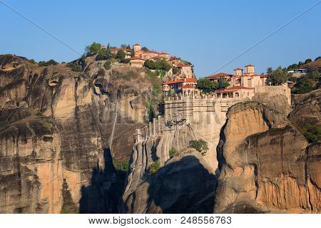 Magnificent Autumn Landscape.beautiful View On The Holy Monasteries Of Great Meteoron And Varlaam Pl