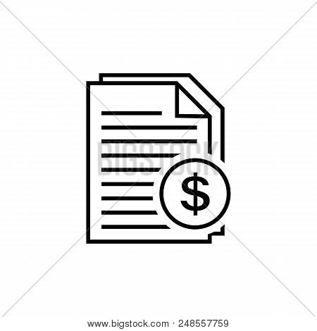 Invoice Line Icon In Flat Style. Payment And Bill Invoice Symbol Isolated On White. Order Symbol.abs