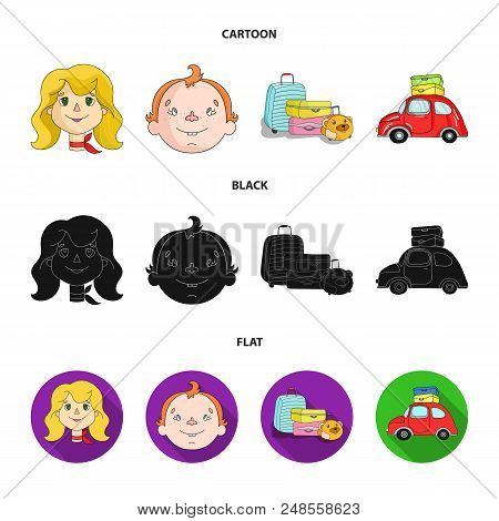 Camping, Woman, Boy, Bag .family Holiday Set Collection Icons In Cartoon, Black, Flat Style Vector S