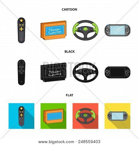 Game Console And Joystick Cartoon, Black, Flat Icons In Set Collection For Design.game Gadgets Vecto