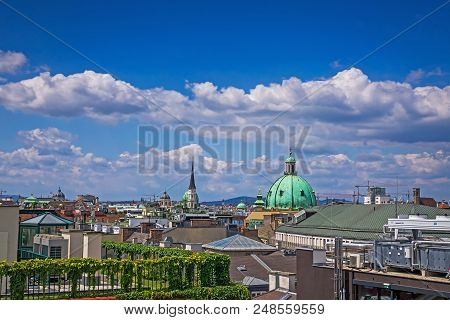 Central Vienna Cityscape, High Angle View Of Roofs Innere Stadt