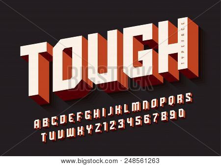 The Tough Bold Display Font Design, Alphabet, Typeface, Letters And Numbers, Typography. Swatch Colo