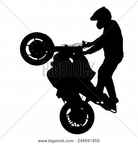 Silhouettes Rider Participates Motocross Championship On White Background.