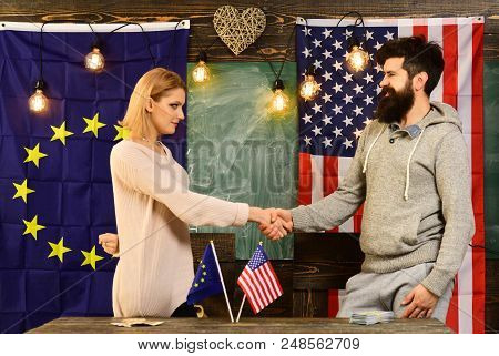 Partnership Between Usa And European Union. Partnership Of Man And Woman Politicians