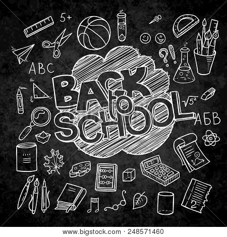 Back To School Lined Supplies Collection. Sketchy Notebook Doodles Set With Lettering. Vector Illust