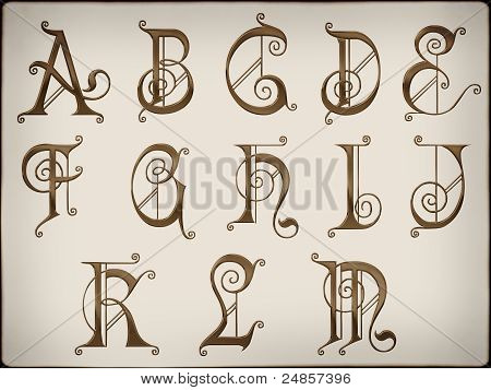 Alphabets.brilliant Latin Letters On  Background Part 1.