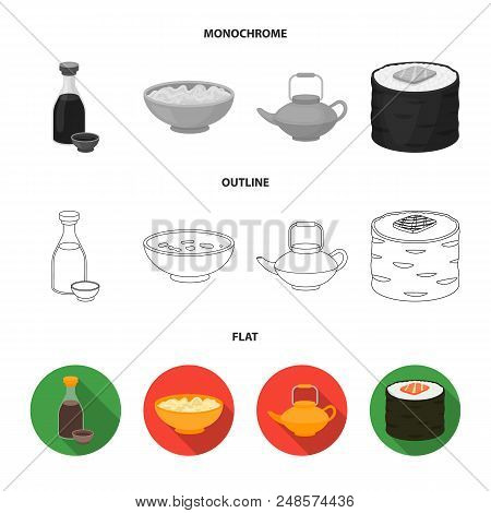 Soy Sauce, Noodles, Kettle.rolls.sushi Set Collection Icons In Flat, Outline, Monochrome Style Vecto