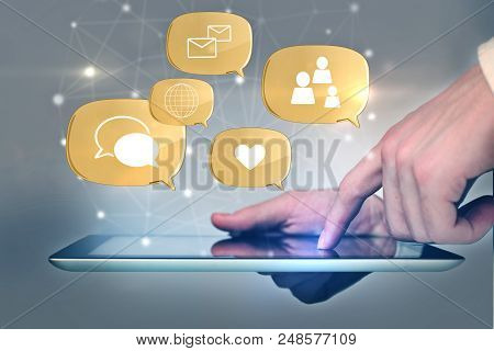 Social Media Concept With Finger Touching Digital Tablet And Digital Social Network Icons Above