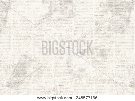 Old Grunge Newspaper Collage Horizontal Background. Unreadable Vintage News Pattern. Scratched Paper