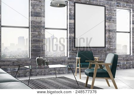 Blank Poster On Vintage Wooden Wall In Modern Loft Style Living Room With Emerald Leather Furniture