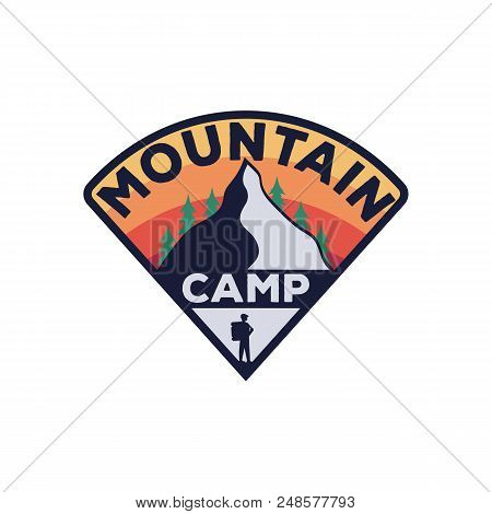 Camping Vintage Emblem.monochrome Logo Of The Mountain, Forest And Traveler. Vector Stock Illustrati