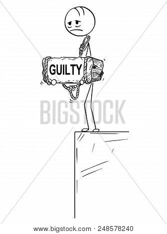 Cartoon Stick Drawing Conceptual Illustration Of Sad And Depressed Man Or Businessman Who Feels Guil