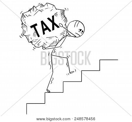 Cartoon Stick Drawing Conceptual Illustration Of Man Or Businessman Carrying Big Piece Of Rock With
