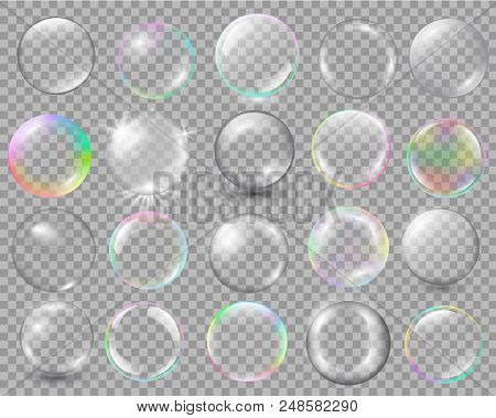 Big Set Of Different Spheres With Glares And Highlights. Vector Illustration With Transparencies, Gr