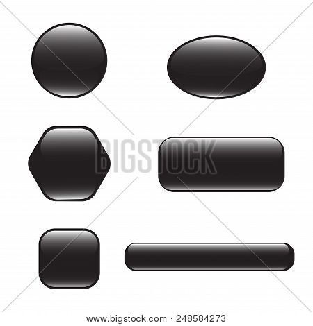 Set Of Black Square And Rounded Button. Vector Button Banner Round, Badge Interface With Glare For A