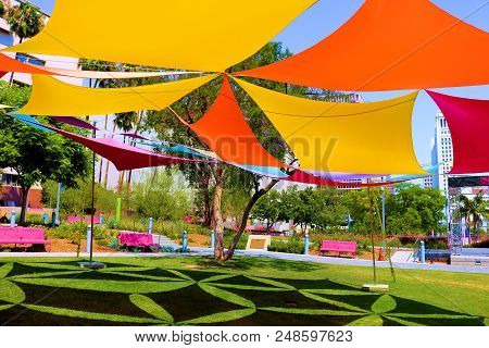 July 8, 2018 In Los Angeles, Ca:  Colorful Canopy Providing Shade With Contemporary Decorative Desig