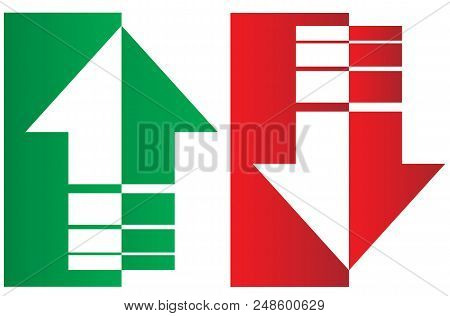 Up And Down Arrows. Upward, Downward Arrows In Green And Red From Thin To Thick And Divided Into Two
