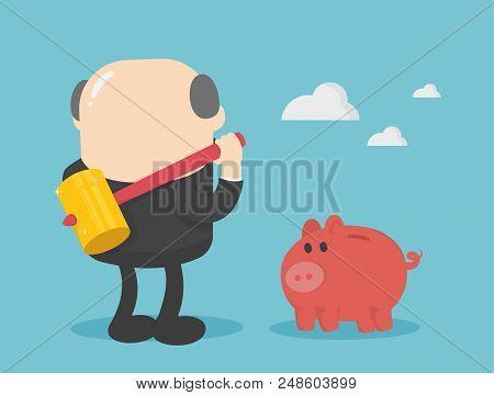 Businessman With Big Hammer Smash Piggy Bank