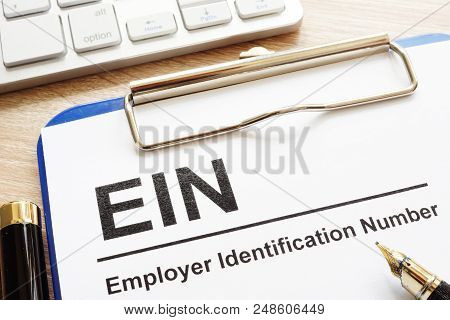 Employer Identification Number (ein) On A Clipboard.