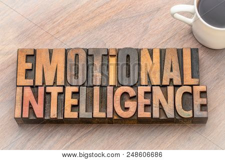 emotional intelligence - word abstract in vintage letterpress wood type
