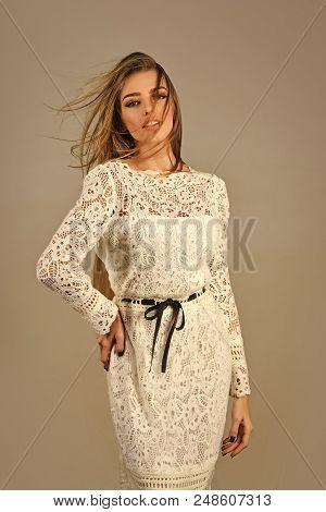 Wedding Dress. Woman In Stylish Dress, Glamour, Elegance. Fashion And Beauty, Look, Sexy Girl. Fashi