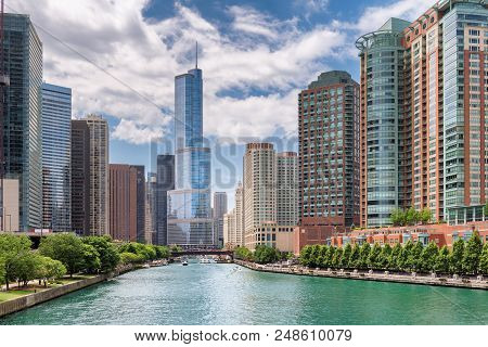 Chicago Downtown And Chicago River At Sunset In Summertime, Illinois, Usa.