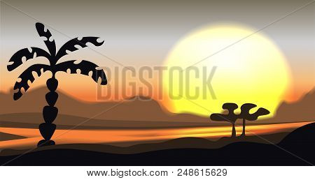 Tropical sunset and sundown vector landscape. Mountain panorama with river, palm and hills. Calm vector mountain savanna valley illustration, bright sun and tropic trees. Mountain valley landscape panorama, yellow, brown and grey colors poster