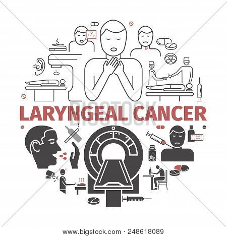 Laryngeal Cancer. Symptoms, Causes. Flat Icons Set. Vector Signs For Web Graphics