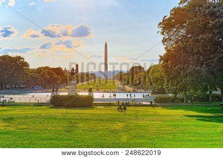Washington, Usa, Washington Monument Is An Obelisk On The National Mall.